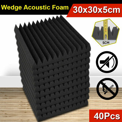 40Pcs Home Studio Wedge Acoustic Foam Sound Absorbtion Proofing Panel Bass Trap