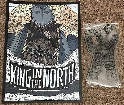 "Game Of Thrones 10""x7"" King Of The North Art Print & Wun Wun Metal Bottle Opener"