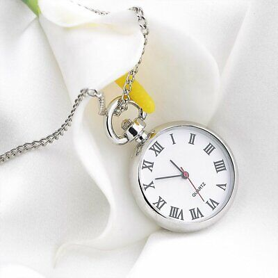 77f80f984 Antique White Dial Quartz Round Pocket Watch Necklace silver Chain Pendant  SQ