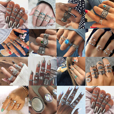 Silver/Gold Boho Stack Plain Above Knuckle Ring Midi Finger Tip Rings Set Charm