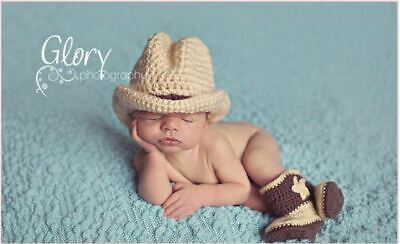 Baby Cowboy Outfit Baby Boy Cowboy Hat and Boots Set Outfits Photo Props 0-6M