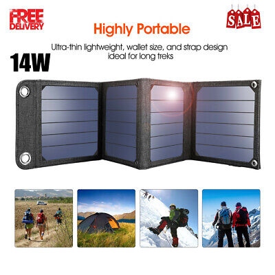 Portable 14W Solar Panel Charger Bag External Battery Charger USB Power Supply