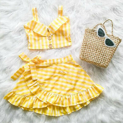 AU Toddler Baby Girls Plaid Clothes Vest Crop Top+Skirt Dress Summer Outfit Set
