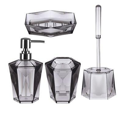 Dow Grey Acrylic (4 Pc) Bathroom Set, Modern Glam to the Bathroom Decor