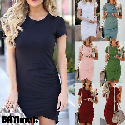 Women Bodycon Round Neck Shirt Dress Ladies Summer Beach Short Sleeve Mini Dress