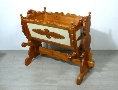 Vintage Large Doll ROCKING CRADLE solid wood hand-carved, Bavarian Cottage style