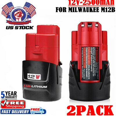 2x 2.5AH For Milwaukee M12 48-11-2401 12v 12 Volt Lithium Compact Battery M12B