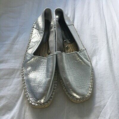 Zara Espadrilles Silver Size 6/39 Very Good Condition Snake Skin Look