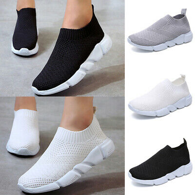 Womens Ladies Breathable Mesh Slip On Trainers Comfy Sock Sneakers Running Shoes