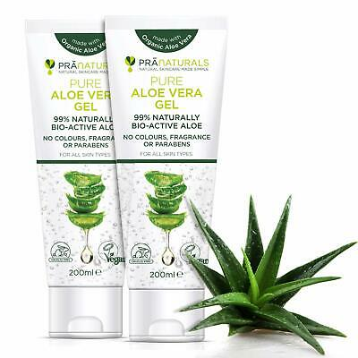 PraNaturals Pure Aloe Vera Gel 200ml VEGAN CERTIFIED, Pack of 2  NEW & FAST
