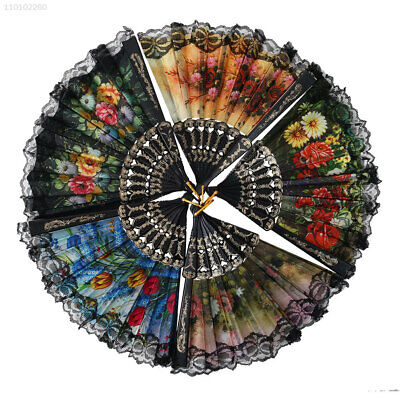 D0325FE Folding Spanish Flower Floral Fabric Lace Dancing Wedding Party Hand Fan