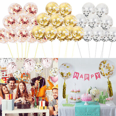 "5/10/20Pcs 12"" Confetti Sequins Latex Balloons Helium Birthday Wedding Hen Party"