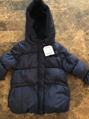 ZARA GIRLS OUTERWEAR COLLECTION NAVY BLUE QUILTED WINTER JACKET SZ. 2/3 98Cm
