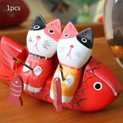Cat Lovers Fishing Cat Decoration Figurines Animal Wood Ornaments Gifts@A