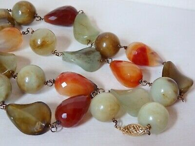 """Old Vintage 14K Gold Clasp Scottish Moss Banded AGATE Bead 24.75"""" Long Necklace"""