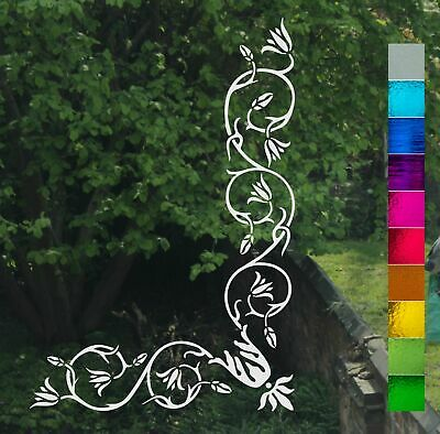 Victorian Floral Scroll Corner Frost Etch or Stained Glass Effect Window Sticker