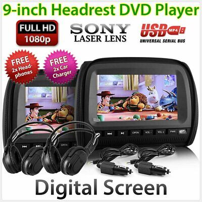 "Black 9"" Headrest In Car Monitor 2 DVD Players Games Pillow Headphone USB Pair Z"