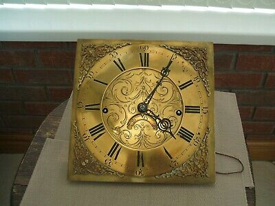 Antique Brass Faced / Grandfather  Clock Movement  / 12 Inch Square Dial