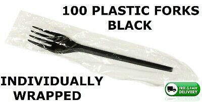 100 Quality Plastic Forks Catering Buffet Take Away,  Individually Wrapped,Black