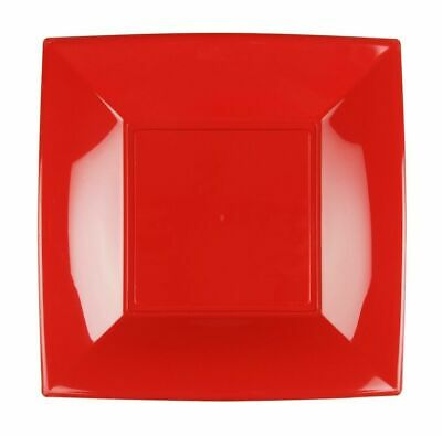 25 Pack of 23cm Red Reusable Plastic Catering Tableware Party Wedding Plate