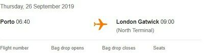 2 flight tickets from Porto to London Gatwick 26 Sept 2019, £40 each.