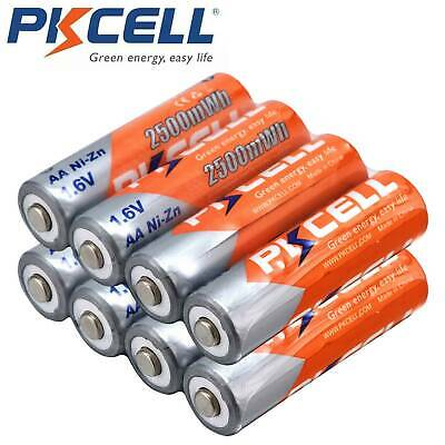 PKCELL 2/4/8pcs AA 1.6V 2500mAh 2500mWh Ni-Zn Rechargeable Battery Replace Ni-MH