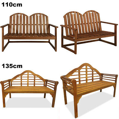 2 Seater Outdoor Solid Acacia Wood Garden Bench Park Seat Furniture 110cm/135cm