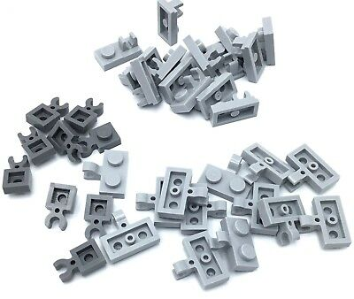 LEGO Lot of 12 Light Gray 1x1 Horizontal Clip Plate Pieces