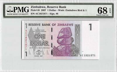 Zimbabwe 1 Dollar 2007  P-65 100 Trillion Series PMG 68 EPQ Superb Gem UNC