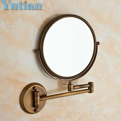 Antique 8 Double Side Bathroom Folding Brass Shave Makeup Mirror Wall Mounted