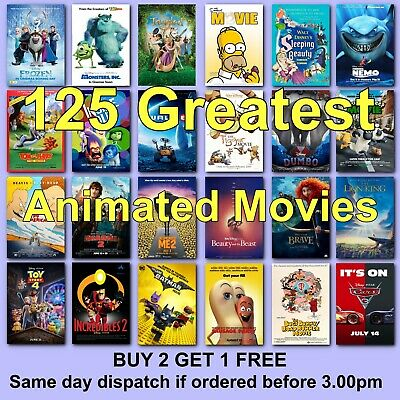 Classic Disney Movie Posters Animation Cartoon Film Poster HD Borderless Prints