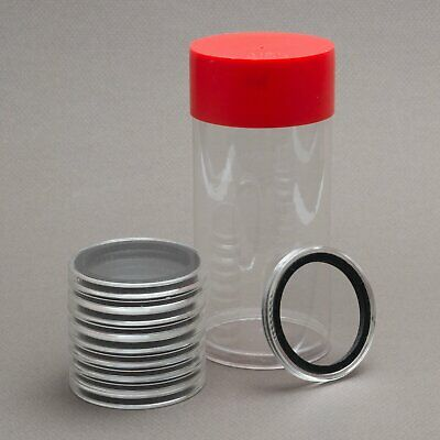 (1) Airtite Coin Holder Storage Container & (10) Black Ring 39mm Air-tite Coin