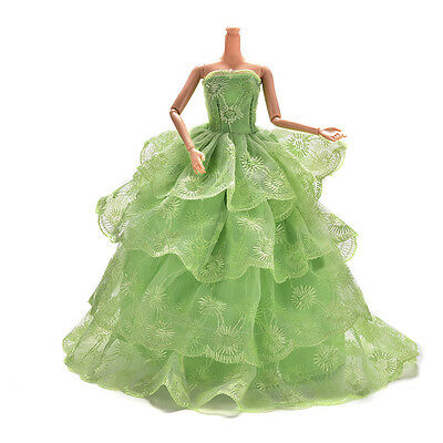 """1 X Embroidery Green Wedding Gown Dress For s Dolls 27cm/10.63"""" Fad gq"""