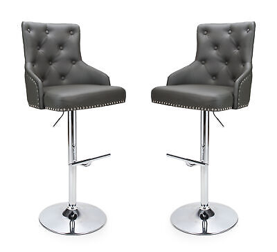 Rocco Chesterfield Bar Stools in Grey Faux Leather Gas Lift Breakfast Bar