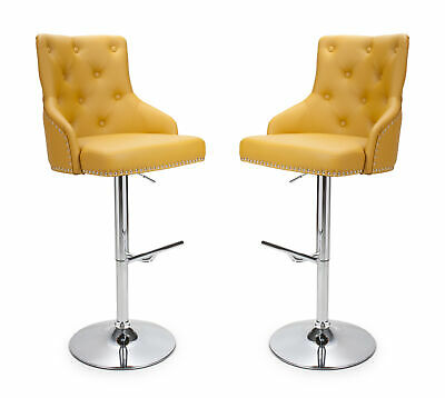Rocco Chesterfield Bar Stools in Yellow Faux Leather Gas Lift Breakfast Bar