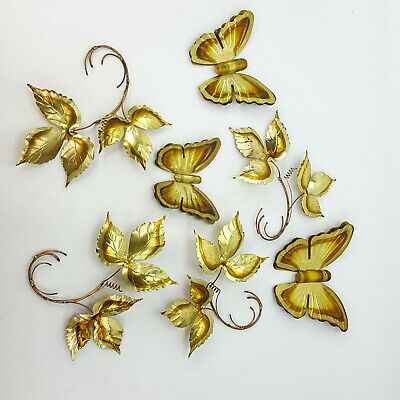 Vintage Brass Copper Tone Metal 7pc Butterfly & Leaves Wall Decor Figure Decor