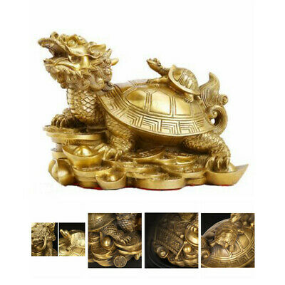 Gold Feng Shui Dragon Turtle Tortoise Statue Figurine Coin Money Wealth Luck 1Pc