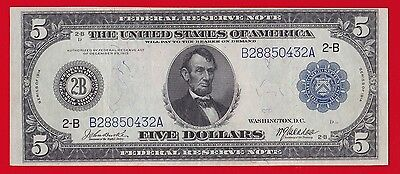 1914 $5 Federal Reserve Note New York Burke-Mcadoo Xf.