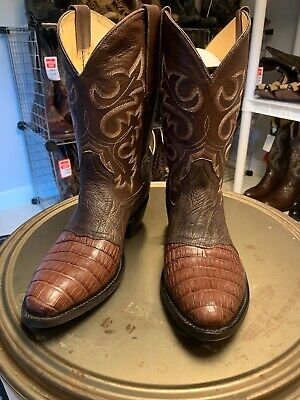 77407320119 COWTOWN MENS GENUINE Caiman Belly/ostrich Square Toe Coywboy Boots ...