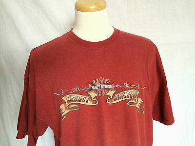 Harley-Davidson Mens T-Shirt 2XL Brick Red Number 1 Crew Neck Made In USA