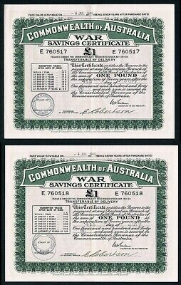 Australia • 1941 • Victoria • £1 (One Pound) War Savings Certificate Consec Pair