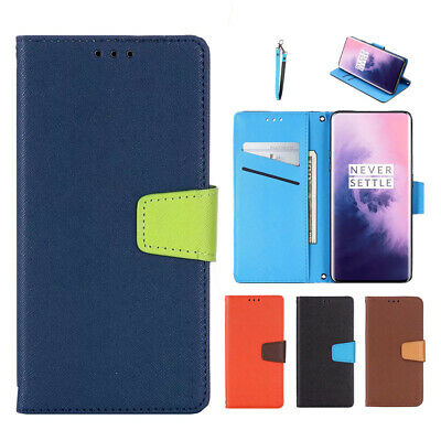 Luxury Bi-Color Flip Magnetic Leather Wallet Stand Case Cover for Oneplus 7 Pro