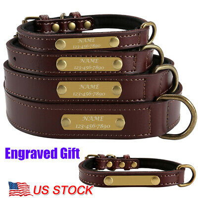 Pet Leather Personalized Dog Collars Name ID Collar with Nameplate Engraved S-XL