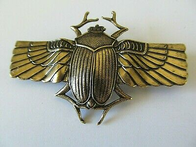 Art Deco Egyptian Large Antique Gold Winged Scarab Beetle Designed Brooch Pin