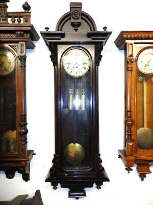 Large 3 Weight Grand Sonnerie Wall Clock 1860 - 1880 For A Easy Restauration