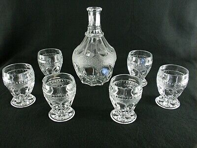 Rare Antique BACCARAT Crystal Glass Set 6 x Red Wine Tumbler & Matching Decanter