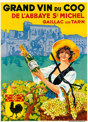 French Champagne 1930 Vintage Liquor Advertising Dog Giclee Canvas Print 20X30