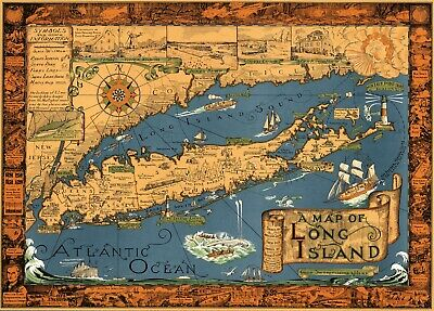 Map of Long Island 1930s New York Pictorial Historic Giclee Canvas Print 40x29