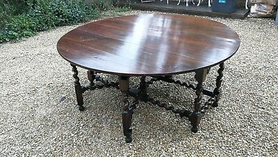 V Large 8-10 Seater Antique Fruitwood Refectory Double Gateleg Dining Table Oak