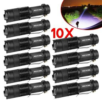 10 x CREE Q5 LED Zoomable Focus Bright Flashlight Torch 1200LM Light AA/14500